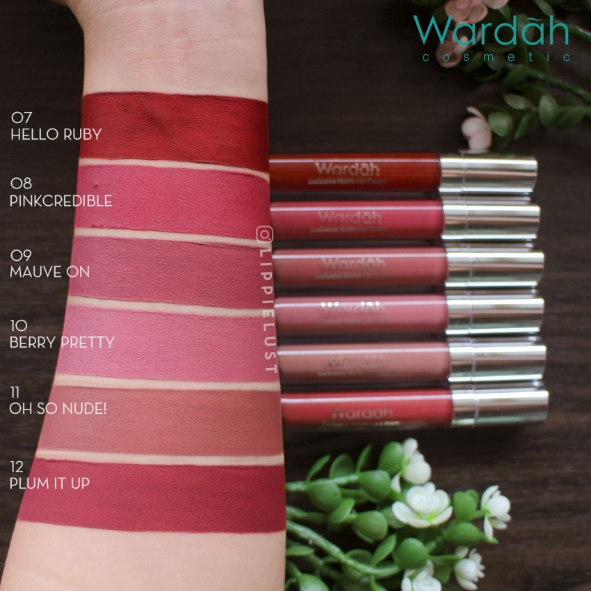 REVIEW WARDAH EXCLUSIVE LIP CREAM - Full swatches 6 Shades
